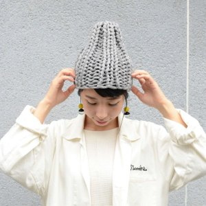 画像1: AMO-ハイブリットニット-手編み リブニット帽